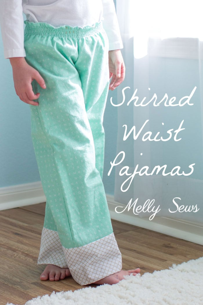 How to sew a shirred waist - use elastic thread to sew pajamas waistband - Mommy & Me pajamas by Melly Sews