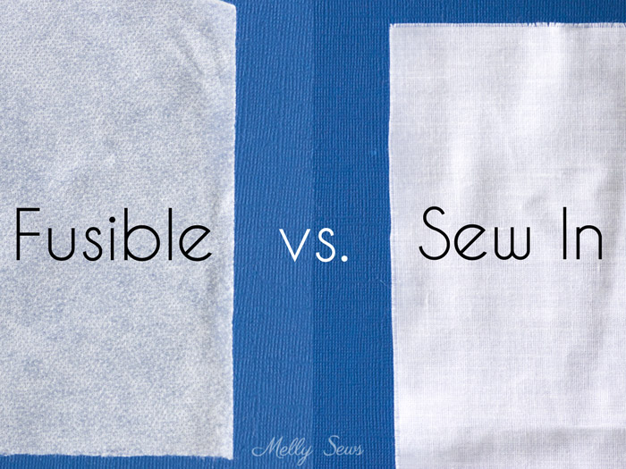 Fusible vs Sew in Interfacing types pictured