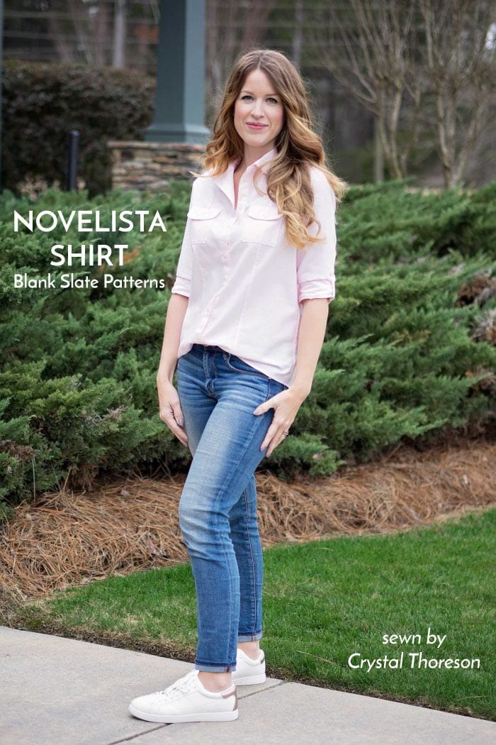 Novelista Shirt sewing pattern from Blank Slate Patterns sewn by Crystal Thoreson