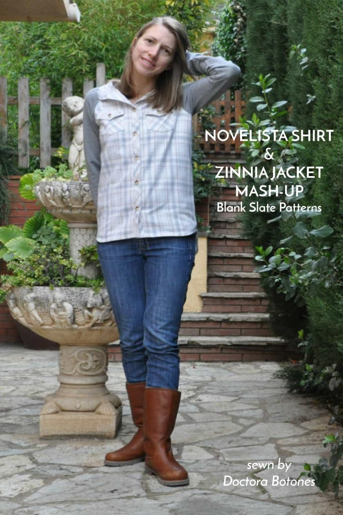Novelista Shirt and Zinnia Jacket mash-up - sewing patterns by Blank Slate Patterns sewn by Doctora Botones