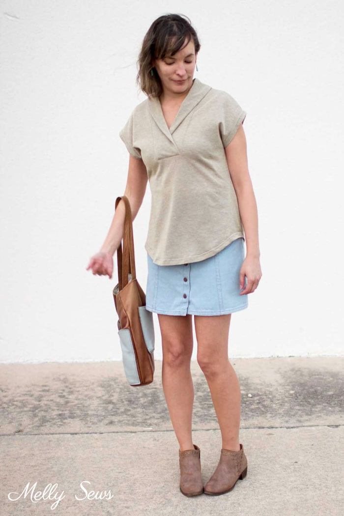 Short Sleeve Sweater, Jean Skirt and Booties - How to Sew a Shawl Collar - Video Tutorial for this type of neckline - Melly Sews