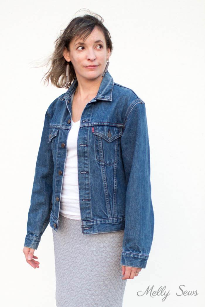 Vintage jean jacket - How to Alter a Jean Jacket - Sew a Denim Jacket - Melly Sews