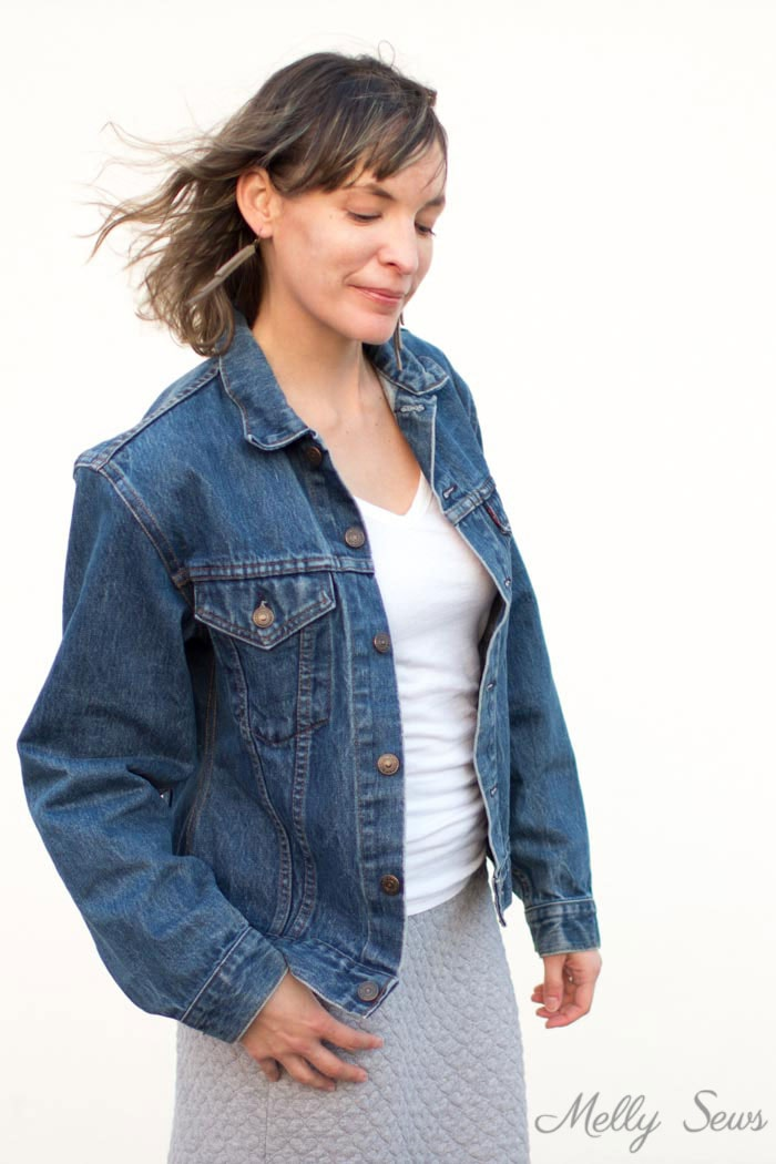 Oversized jean jacket - How to Alter a Jean Jacket - Sew a Denim Jacket - Melly Sews