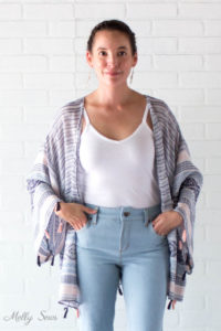 Jeans, Tank and Wrap - DIY Kimono-Style Wrap - Sew a Swim Cover From Scarves - Video Tutorial by Melly Sews