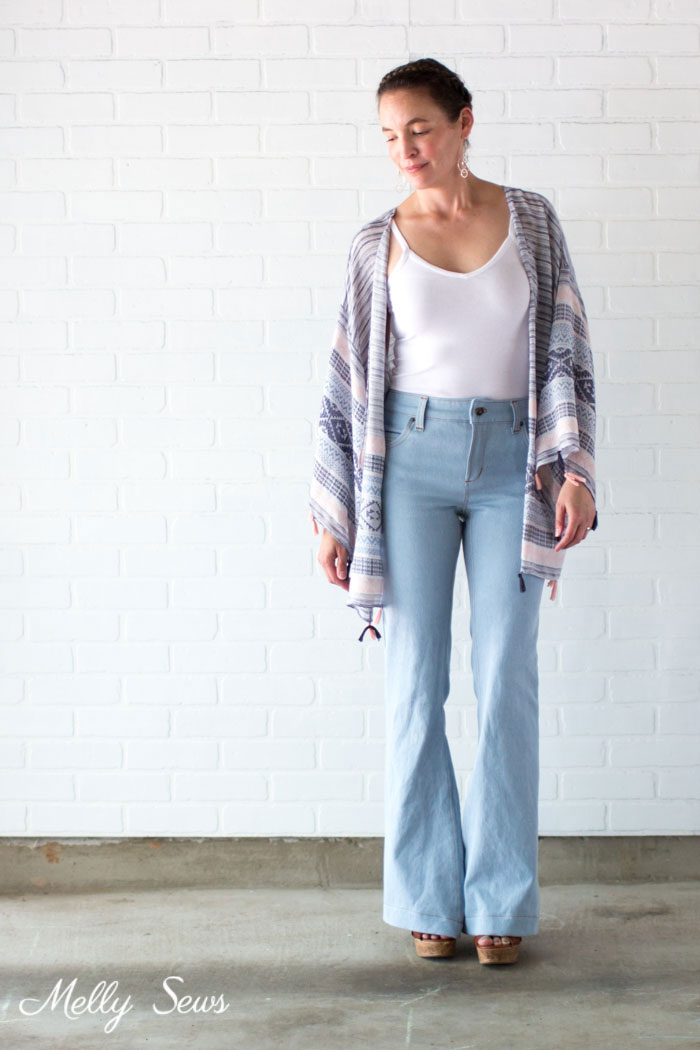 Bleached flared jeans - DIY Kimono-style Wrap - Sew a Swim Cover From Scarves - Video Tutorial by Melly Sews