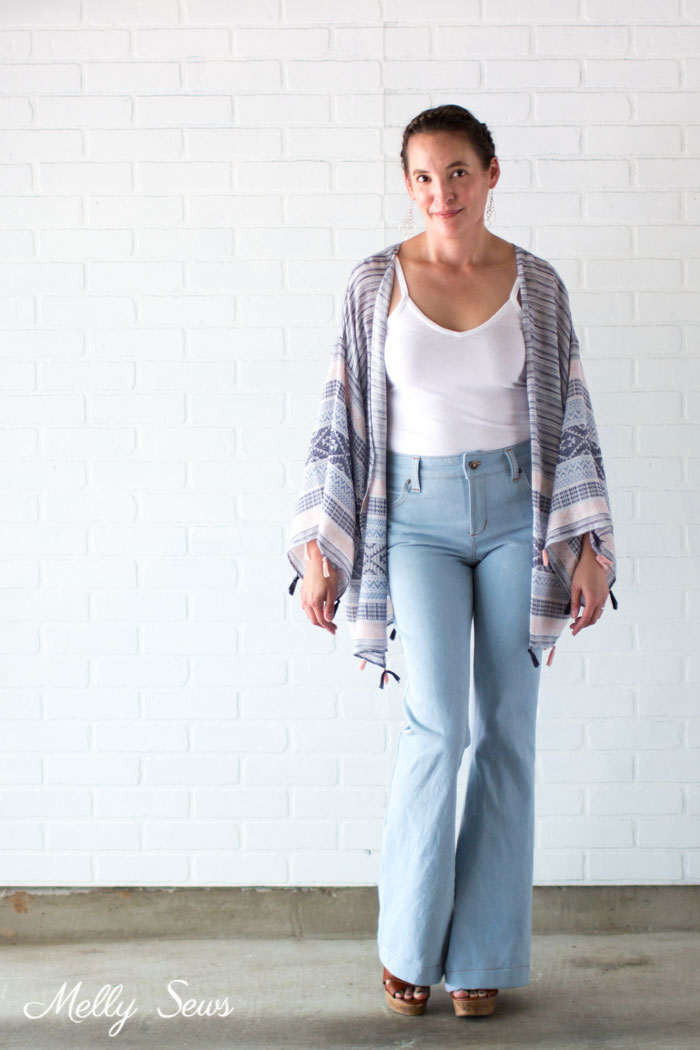 Bell Bottoms - Boho Casual Outfit - DIY Kimono Wrap - Sew a Swim Cover From Scarves - Video Tutorial by Melly Sews
