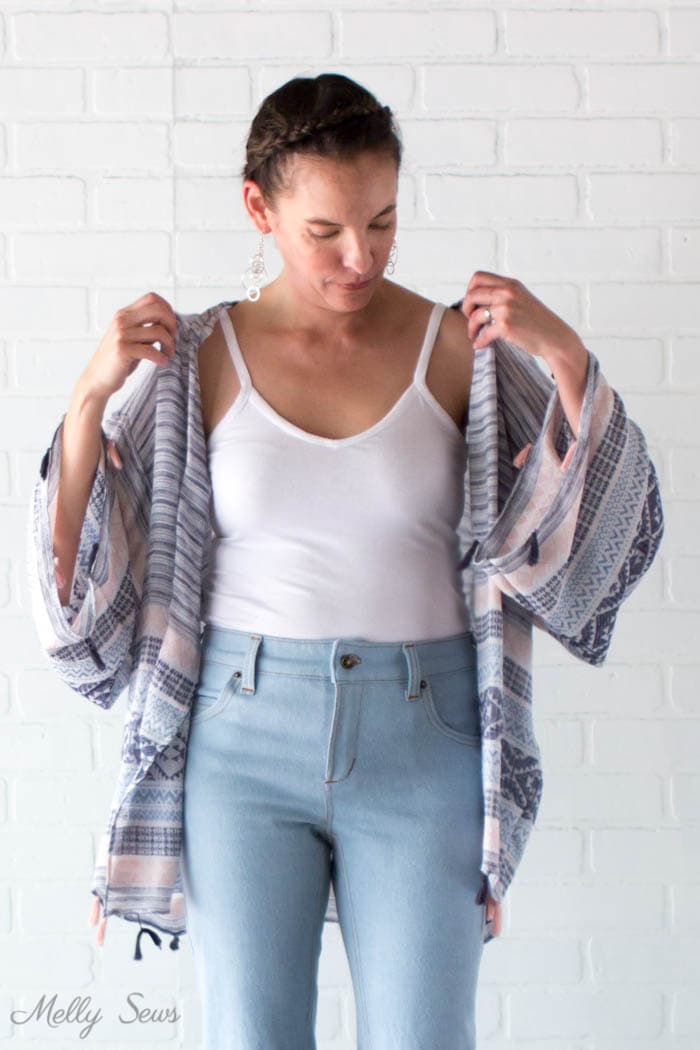 Camisole and Wrap - DIY Kimono-Style Wrap - Sew a Swim Cover From Scarves - Video Tutorial by Melly Sews