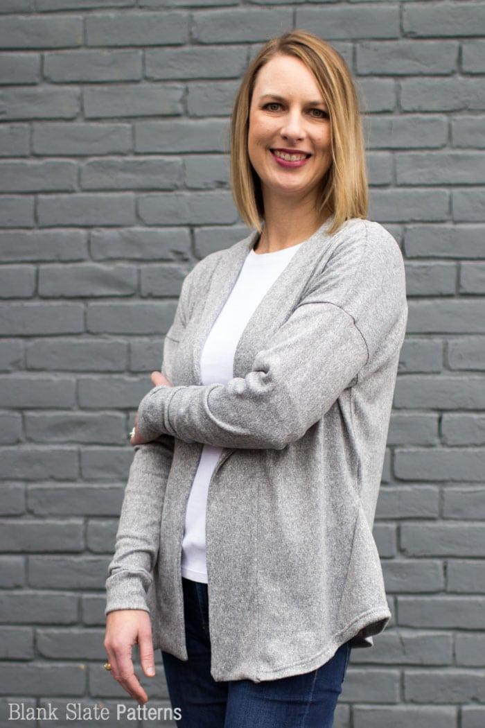 Sora Pattern - Shawl collar cardigan in sweater knit - pullover cardigan sewing pattern - women's cardigan sewing pattern - Blank Slate Patterns