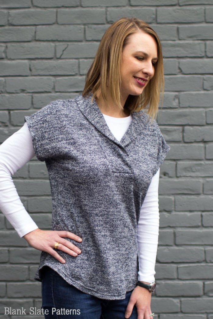 Sora Pattern - Shawl collar pullover in sweater knit - pullover cardigan sewing pattern - women's cardigan sewing pattern - Blank Slate Patterns