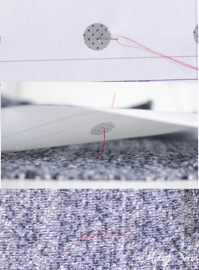 How to Thread Mark - How to Thread Trace - 5 Tips for Sewing with Sweater Knits - How to Sew Sweater Knits - Melly Sews