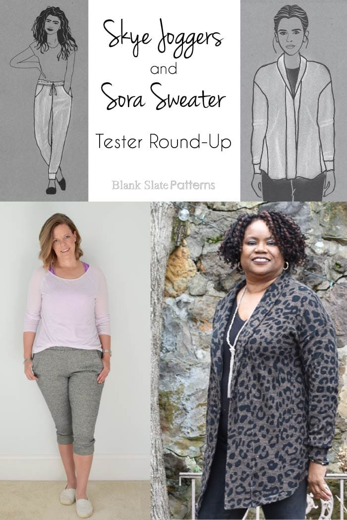 Skye Joggers & Sora Sweater cardigan and pullover sewing patterns from Blank Slate Patterns   Tester photo round-up