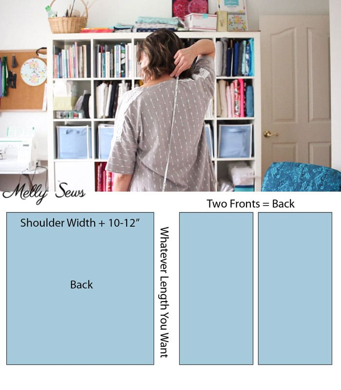 Step 2 - DIY Kimono-style Wrap - Sew a Swim Cover From Scarves - Video Tutorial by Melly Sews