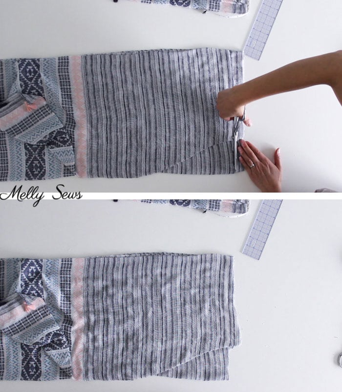 Step 4 - DIY Kimono-Style Wrap - Sew a Swim Cover From Scarves - Video Tutorial by Melly Sews