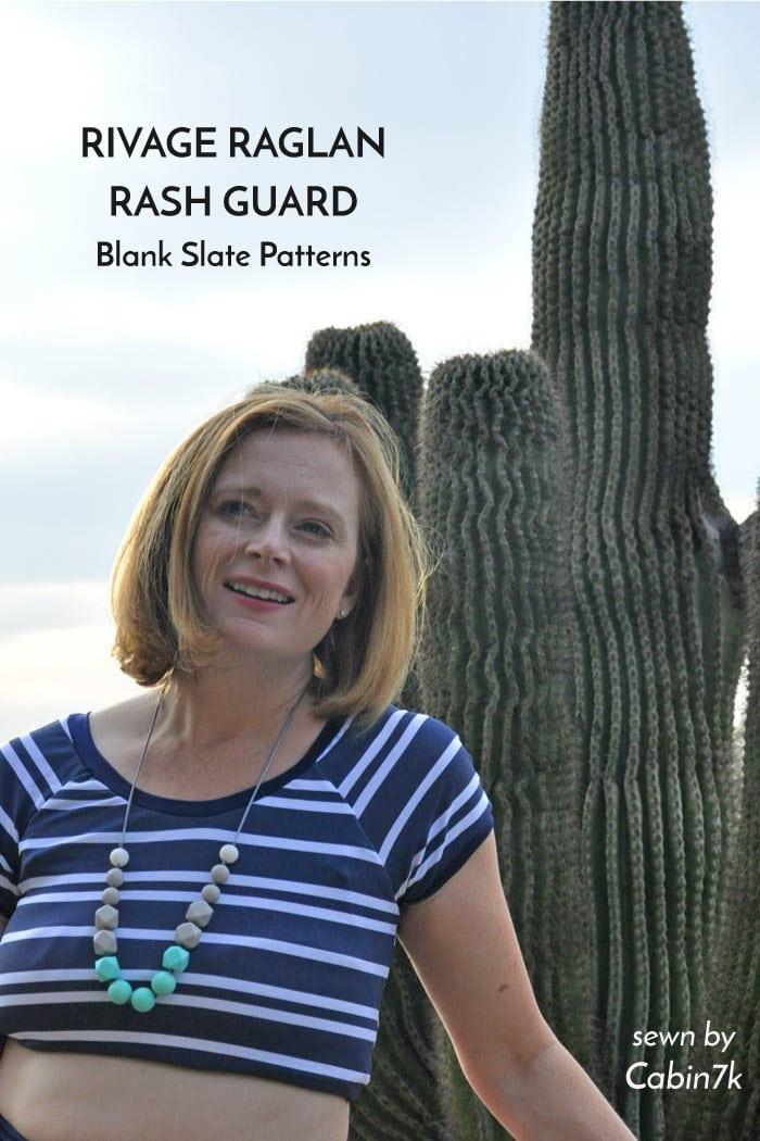 Rivage Raglan rash guard hack - sewing pattern from Blank Slate Patterns sewn by Abby York Cabin7k