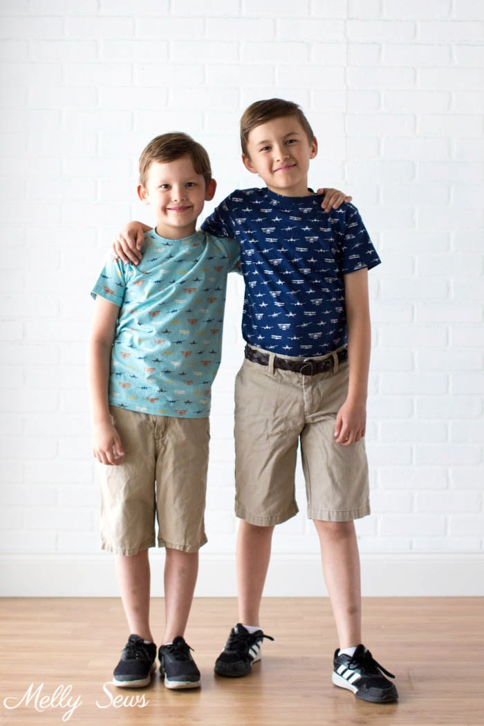 Sewing for boys - t-shirts - Airplane Knits by Melissa Mora for Riley Blake Designs