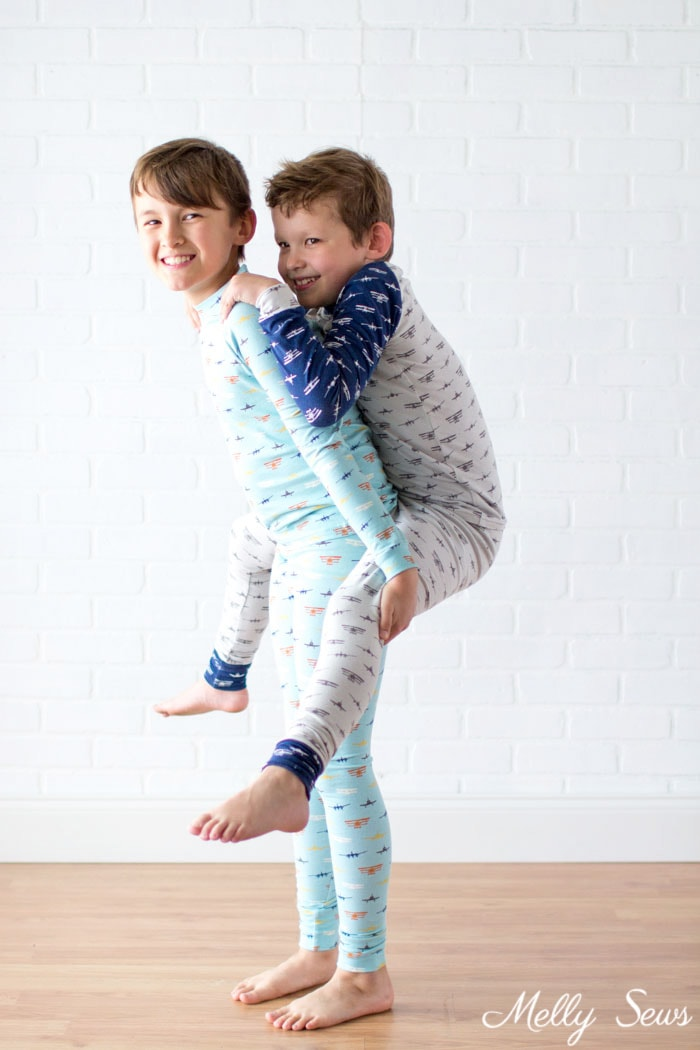 Sibling pajamas - Airplane Knits by Melissa Mora for Riley Blake Designs