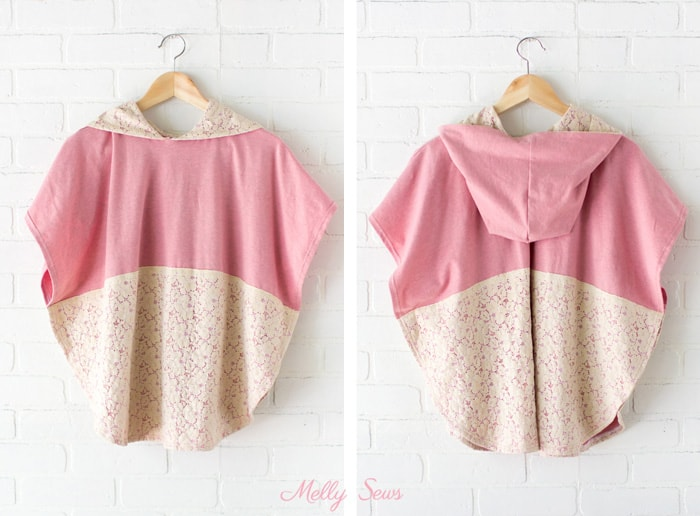 Lace and knit hooded circle top - so cute and easy to sew with a free hood pattern from Melly Sews