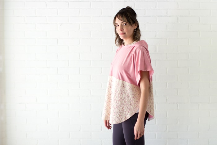 Love this feminine look - Lace and knit hooded circle top - so cute and easy to sew with a free hood pattern from Melly Sews