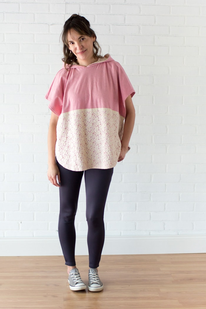 DIY Fashion - Lace and knit hooded circle top - so cute and easy to sew with a free hood pattern from Melly Sews