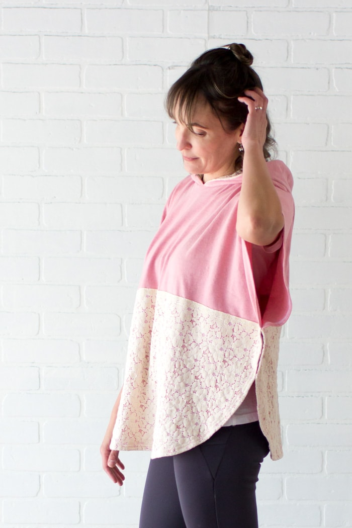 Cute hooded poncho -Lace and knit hooded circle top - so cute and easy to sew with a free hood pattern from Melly Sews