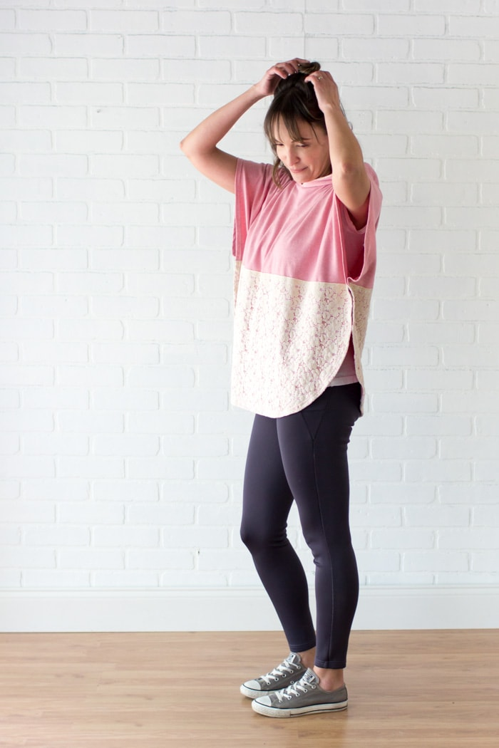 Feminine street wear - Lace and knit hooded circle top - so cute and easy to sew with a free hood pattern from Melly Sews