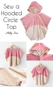Must Make! Lace and knit hooded circle top - so cute and easy to sew with a free hood pattern from Melly Sews