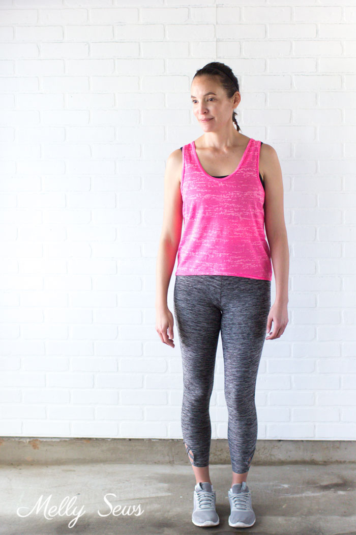 Front view - Learn to Sew a Crossback Workout Tank Make your own DIY workout gear with this tutorial for a crossback tank. - Melly Sews