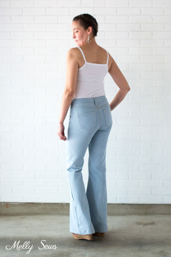 Distressed jeans - Sew high waisted jeans - self drafted bleached flared jeans - Melly Sews