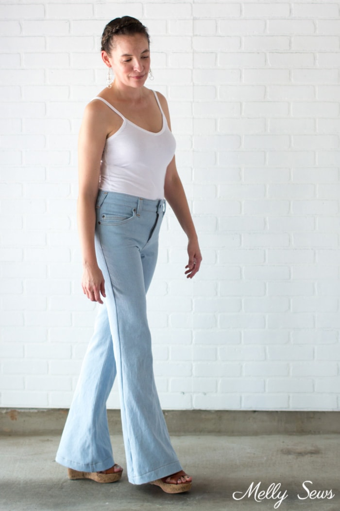Women's jeans outfit - Sew high waisted jeans - self drafted bleached flared jeans - Melly Sews
