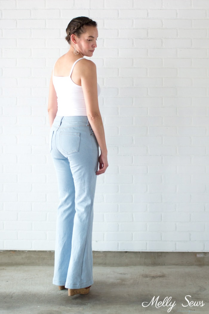 Flare jeans - Sew high waisted jeans - self drafted bleached flared jeans - Melly Sews