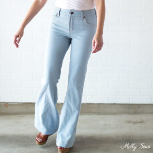 Jeans and wedges - Sew high waisted jeans - self drafted bleached flared jeans - Melly Sews