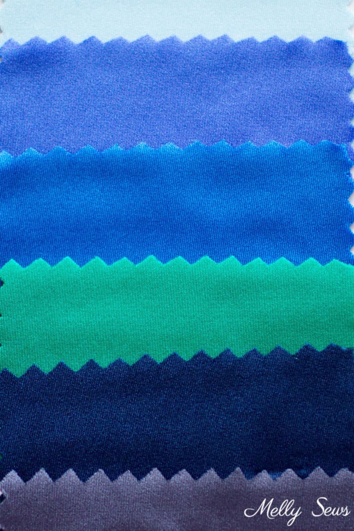Spandex samples - Learn to sew spandex - sewing lycra or elastane tips and tricks - Melly Sews