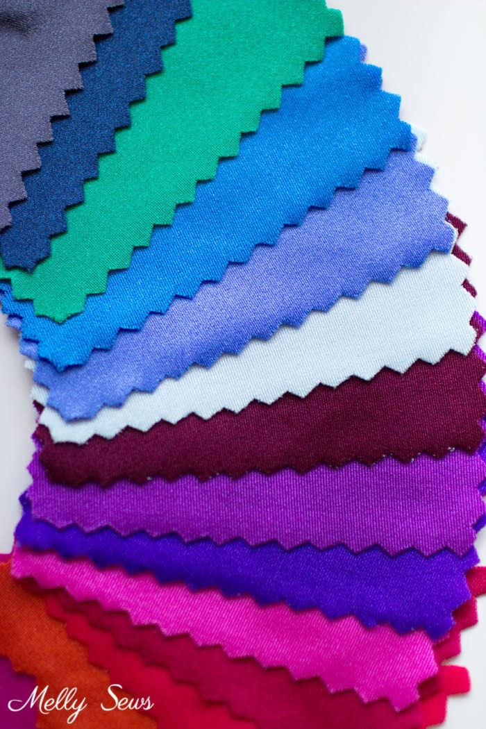 Nylon spandex samples - Learn to sew spandex - sewing lycra or elastane tips and tricks - Melly Sews