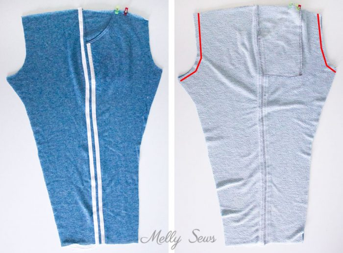 Stripes on pants - Step 2 - How to Add Stripes to Clothes - Sew Stripes - Melly Sews