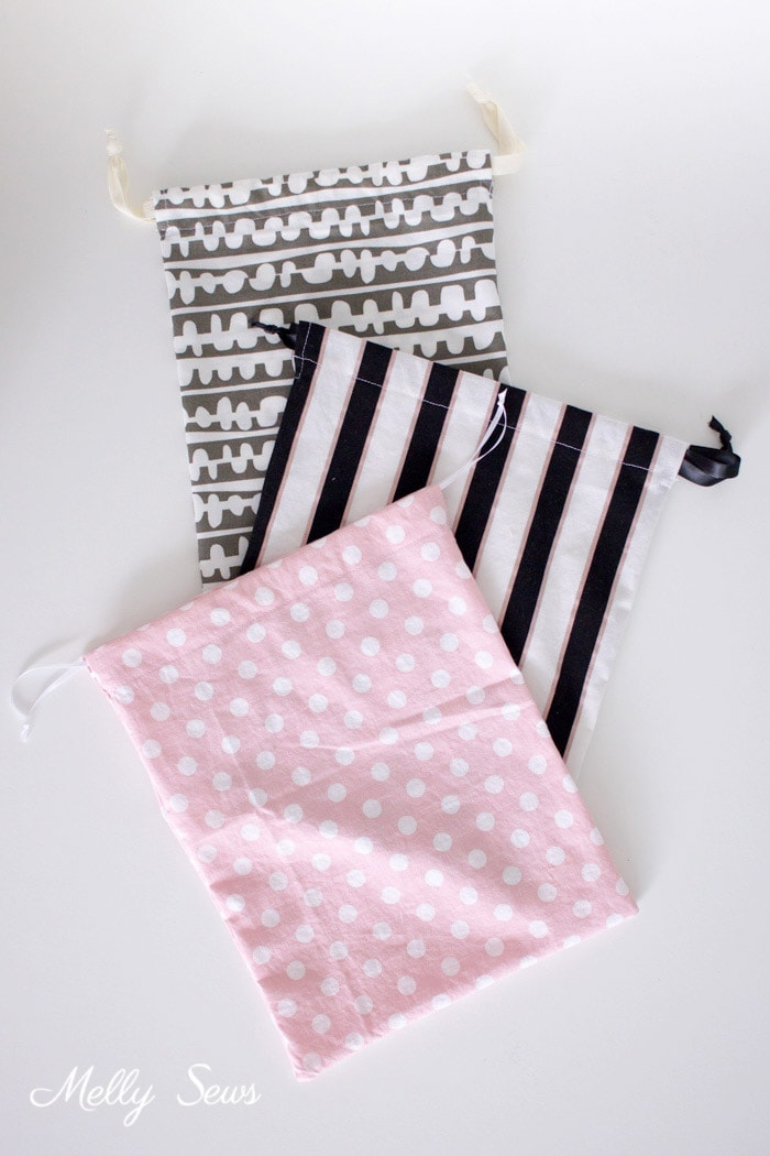 Easy sewing project - Sew a Drawstring Bag - Beginner Sewing Project - Melly Sews