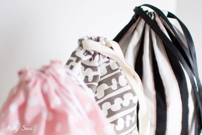 Quick sew - Sew a Drawstring Bag - Beginner Sewing Project - Melly Sews