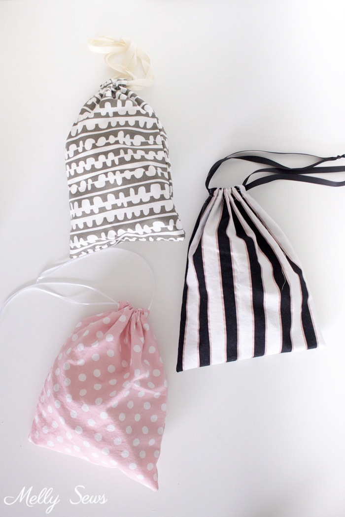 Great kids sewing project - Sew a Drawstring Bag - Beginner Sewing Project - Melly Sews