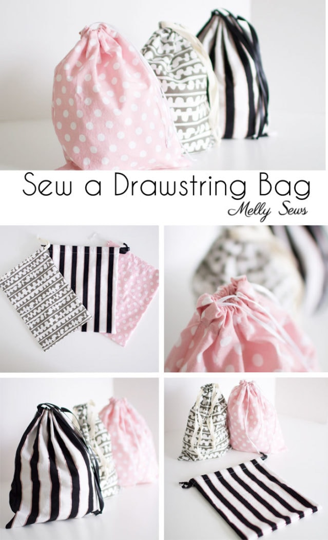 Sew a Drawstring Bag - Beginner Sewing Project - Melly Sews