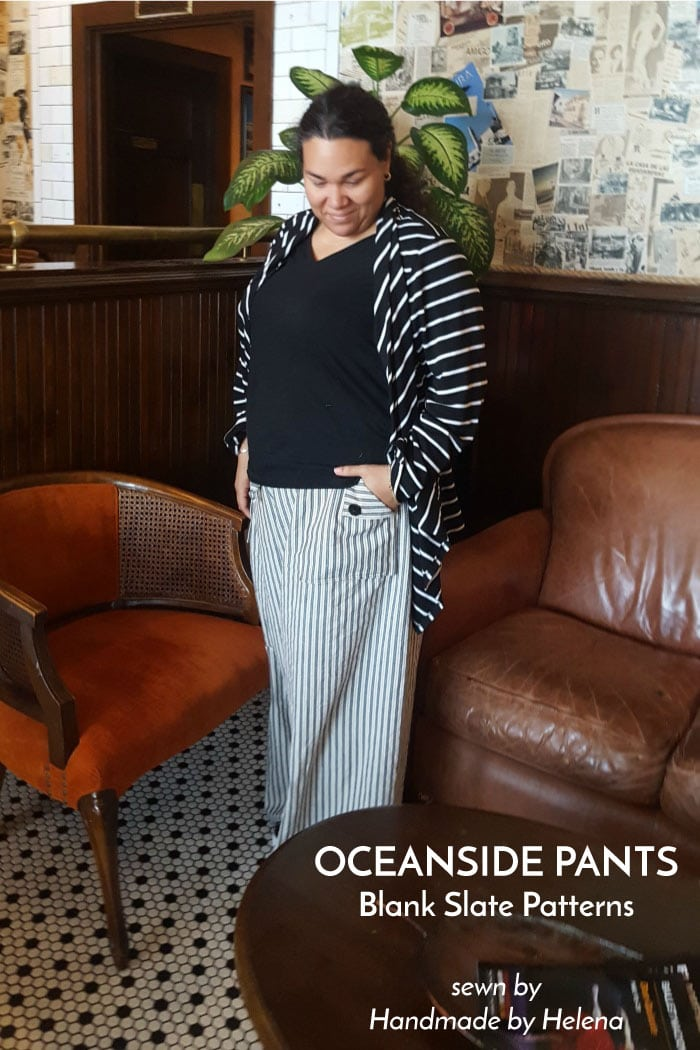 Oceanside Pants sewing pattern from Blank Slate Patterns sewn by Handmade by Helena