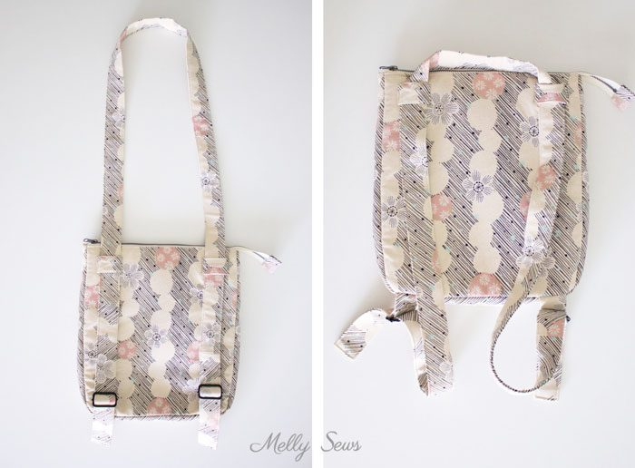 Bag to backpack - Sew the perfect travel bag - converts from a messenger bag to a backpack - Melly Sews