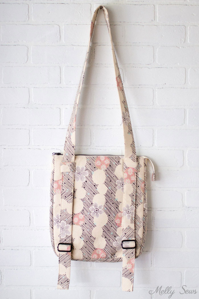 Modified Hyacinth Bag - Sew the perfect travel bag - converts from a messenger bag to a backpack - Melly Sews