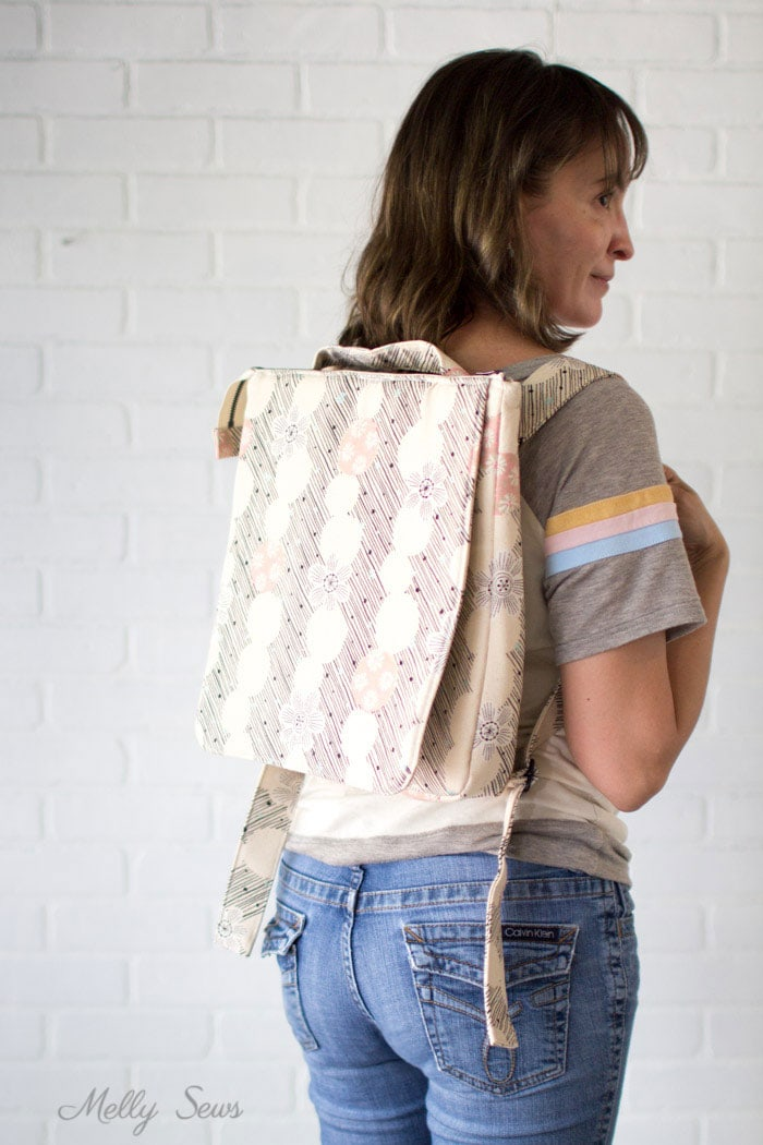 Canvas backpack - Sew the perfect travel bag - converts from a messenger bag to a backpack - Melly Sews