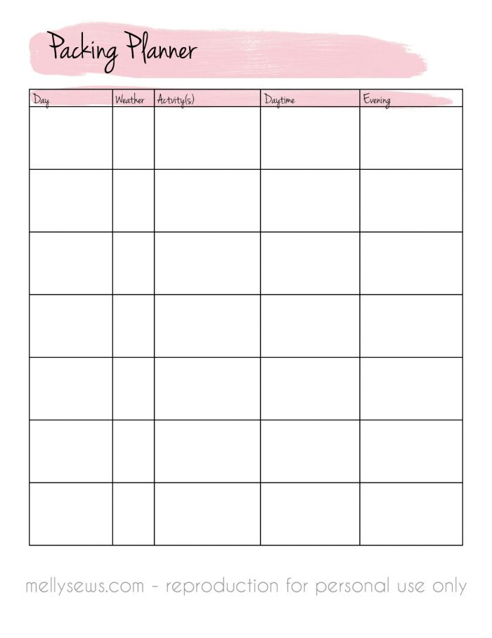 Downloadable packing planner - travel wardrobe capsule - Melly Sews