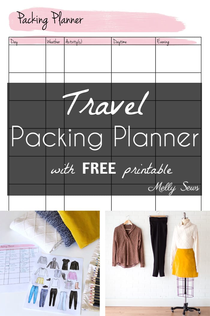 Downloadable travel packing list planner - travel wardrobe capsule - Melly Sews