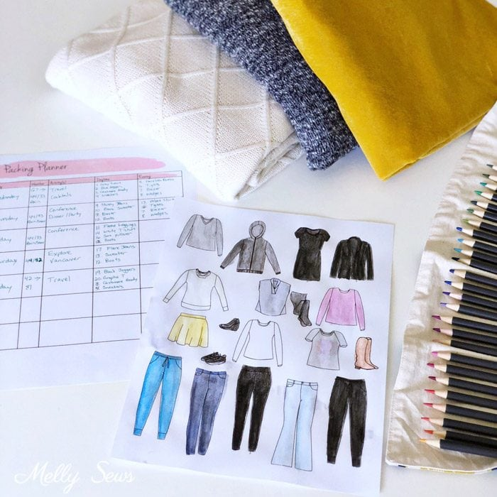 Sketch a capsule wardrobe - Downloadable packing planner - travel wardrobe capsule - Melly Sews