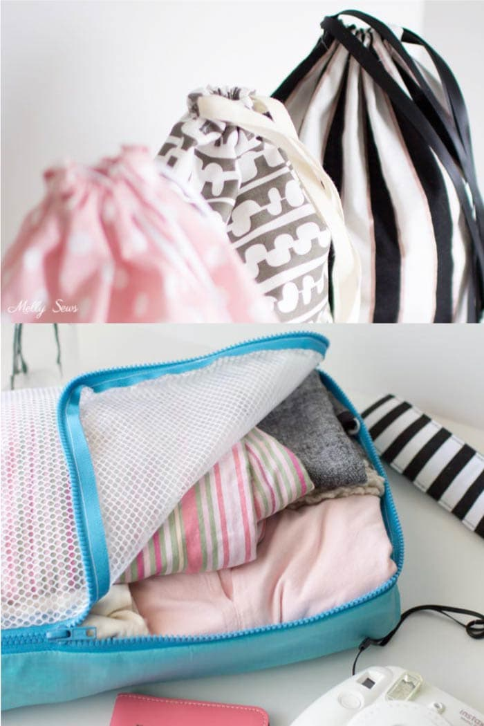 Sew packing cubes and drawstring bags for travel - free tutorials from Melly Sews