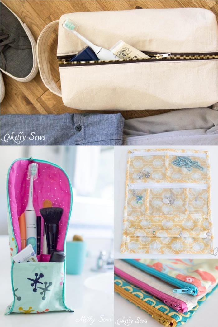 Sew organizers for travel - free tutorials from Melly Sews