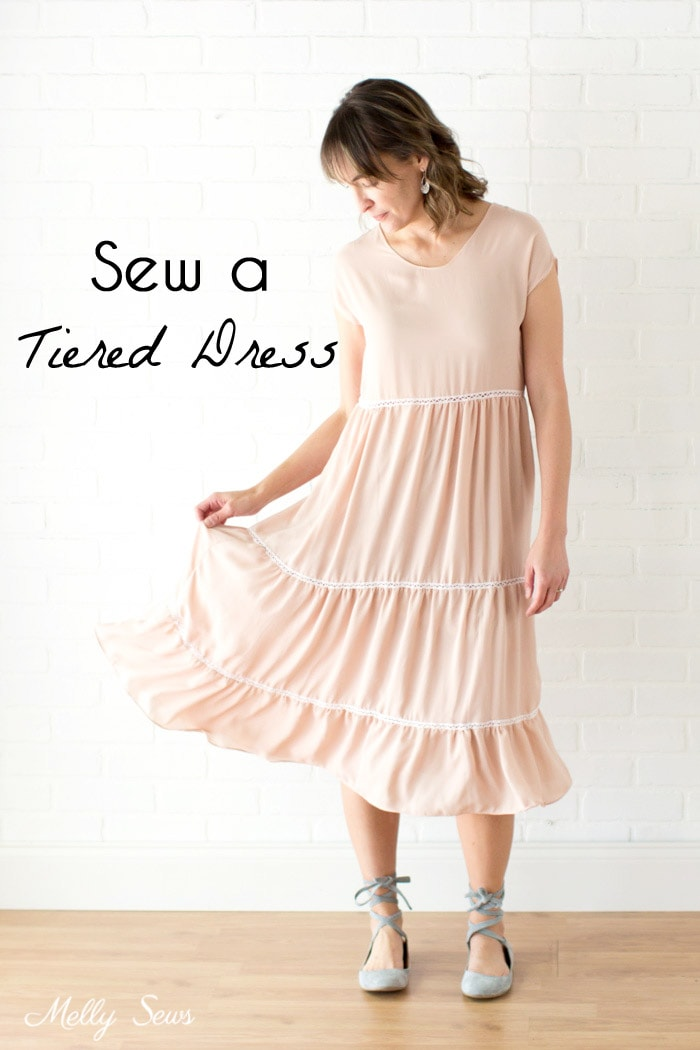 Boho Style Tiered Dress - Tutorial to sew a tiered dress using a free pattern - Melly Sews