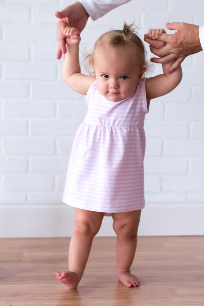 Barely walking - Adorable and simple Knit Baby Dress - Easy to Sew with this DIY Video Tutorial - Melly Sews