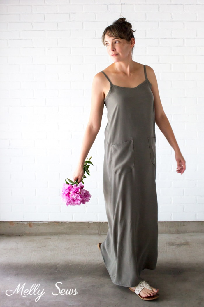 Spaghetti Strap Dress - Sew a simple maxi dress - perfect for summer - DIY tutorial by Melly Sews
